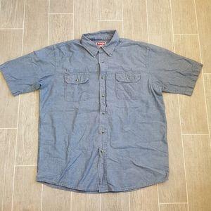 Wrangler Chambray Casual Button Collard Shirt